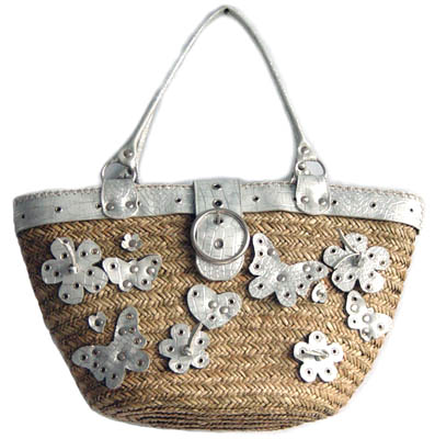 straw bag butterfly decoration